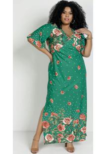 Vestido Longo Floral Verde Com Fendas Plus Size