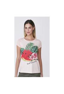 T-Shirt Celestine Estampada Salmão