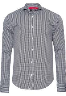 Camisa Masculina Enxuto Vichy Elastano - Preto