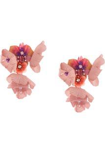 Biyan Long Flower Earrings - Rosa