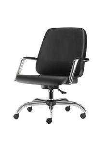 Cadeira Maxxer Diretor Assento Courino Preto Base Cromada Arcada - 54852 Preto