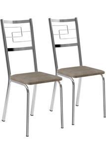 Kit 2 Cadeiras Napa Camurça Cromado Móveis Carraro