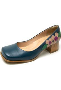 Sapato Retro Em Couro Azul