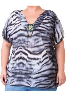 Blusa Confidencial Extra Plus Size Estampada Feminina - Feminino-Cinza