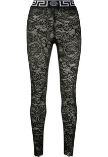 Versace Legging Com Renda - Preto