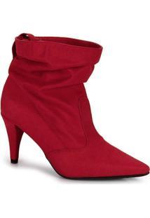 Bota Ankle Boots Beira Rio Salto Fino Vermelho