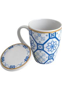 Caneca De Porcelana Super White Com Tampa E Filtro Braga Azul E Branca 310Ml Com Caixa De Presente Lyor