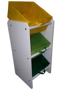 Organizador Organiboxinfantil Porta Brinquedos Mini Verde Bandeira, Verde Limão E Amarelo Montessoriano