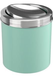 Lixeira Com Tampa Basculante- Inox & Verde Claro- 5,Coza