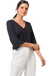 Blusa Mx Fashion De Chiffon Noemi Preta