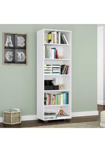 Estante Para Livros 5 Prateleiras Office Móveis Leão Branco Texturizado