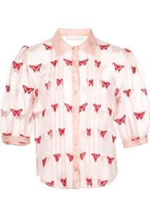 Fleur Du Mal Blusa Translúcida Com Bordado - Rosa