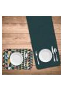 Jogo Americano Com Caminho De Mesa Wevans Geometric Color Kit Com 4 Pçs + 1 Trilho
