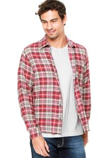 Camisa Forum Xadrez Bordado Vermelha/Bege