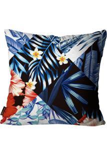 Capa Para Almofada Premium Peluciada Mdecore Floral Colorido 45X45Cm Azul