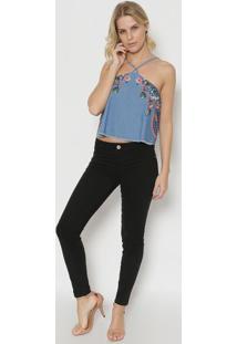 Blusa Jeans Étnica- Azul & Rosa- Tritontriton
