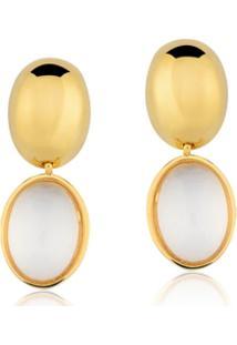 Brinco Toque De Joia Liso Oval Quartzo Cristal - Feminino-Dourado