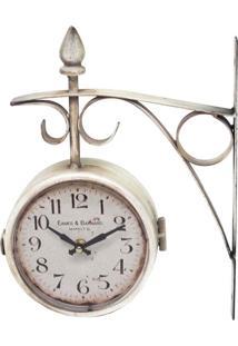 Relógio De Parede Estação Duas Face Oldway Branco