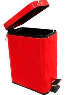 Lixeira Retangular Com Pedal 5 Litros Vermelha