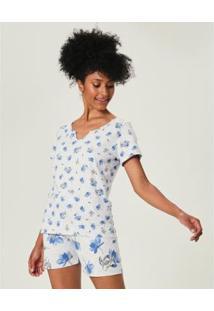 Pijama Estampado Com Fita De Cetim Malwee Liberta Feminina - Feminino-Cinza