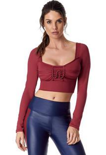 Blusa Cropped Com Vazado- Bordã´- Vestemvestem