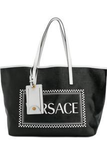 Versace Bolsa Tote 90'S Com Logo - Preto