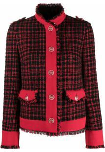 Dolce & Gabbana Jaqueta Xadrez De Tweed Com Acabamento Desfiado - Preto