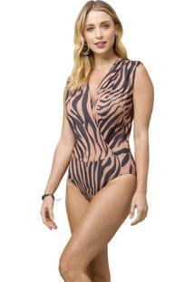 Body Mx Fashion Animal Print Lian Marrom - Tricae