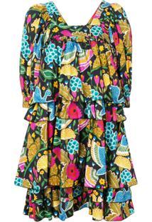 La Doublej Vestido Colombo Grande Estampado - Azul