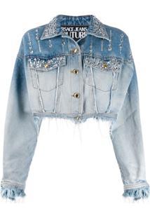 Versace Jeans Couture Rhinestone-Embellished Denim Jacket - Azul
