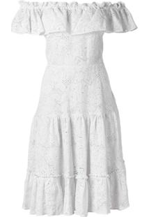 Isolda Vestido Midi De Renda Com Decote Ombro A Ombro - Branco