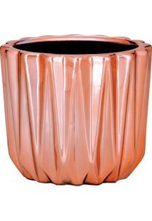 Cachepot Em Relevo- Rosê Gold- 7Xø8Cm- Martmart