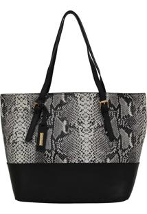 Bolsa Bag Corazzi Leather Deluxe Snake Preta/Branca