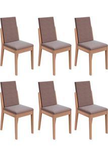 Conjunto Com 6 Cadeiras Lira Carvalho E Rose