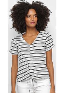 Blusa Favorita'S Listrada Puxador Feminina - Feminino-Verde+Branco