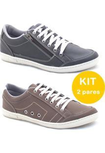 Kit Sapatenis Dexshoes Com Ziper - Masculino-Preto+Marrom