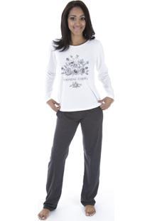 Pijama Longo Inspirate Garden Feminino - Feminino-Branco+Chumbo