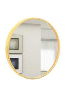 Espelho Decorativo Round Externo Amarelo 50 Cm Redondo