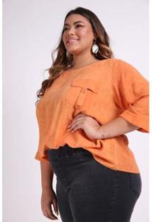 Blusa Bolso Com Fivela Plus Size Kauê Plus Size Feminina - Feminino-Laranja