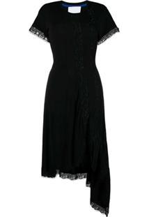 Koché Vestido Assimétrico Com Acabamento De Renda - Preto