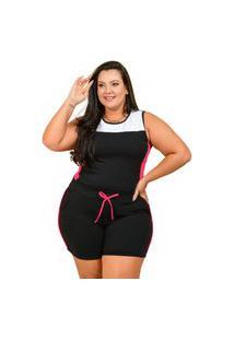 Conjunto Summer Body Short E Regata Plus Size Preto Com Pink
