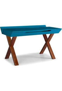 Escrivaninha Studio Cor Cacau Com Azul - 28938 Sun House