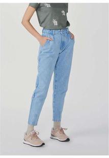 Calça Feminina Super Alta Slouchy Em Jeans Azul