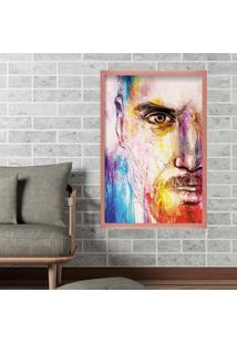 Quadro Love Decor Com Moldura Men Face Rose Metalizado Médio