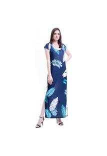 Vestido Longo 101 Resort Wear Jersey Estampado Azul Folhas