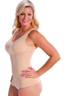 Cinta Camiseta Modeladora Redutora Slim Comfy - Feminino-Bege