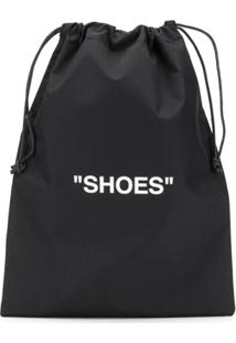 Off-White Quote Print Drawstring Bag - Preto