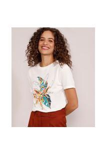 Camiseta Feminina Manga Curta Folhagem Decote Redondo Off White