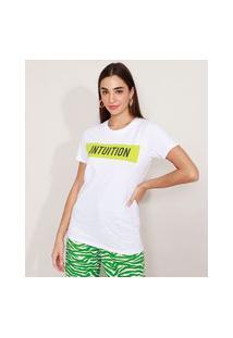 """T-Shirt De Algodão Intuition"""" Manga Curta Decote Redondo Mindset Branca"""""""