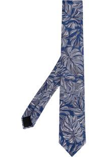Cerruti 1881 Gravata Floral De Seda - Azul